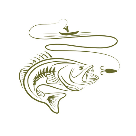 man fishing: ilustración de pescador en un barco y bajo la boca grande