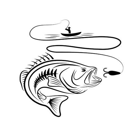 illustratie van de visser in een boot en grote mond bas Stock Illustratie