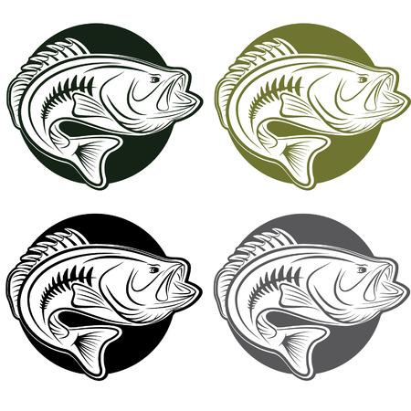 set van etiketten wit grote moutn bass