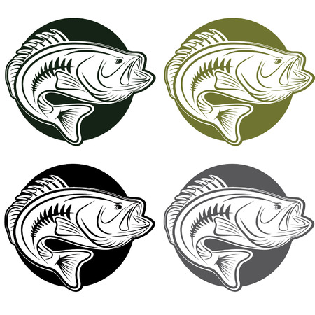 set of labels wit large moutn bass Illustration