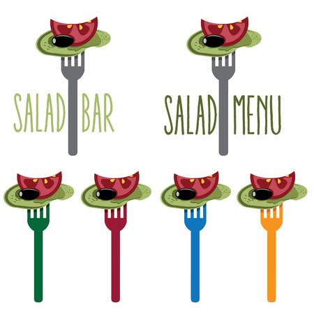 salat: vegetarian salad on the fork