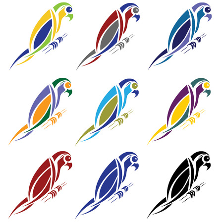amazon rainforest: set of abstract macaw parrot Illustration