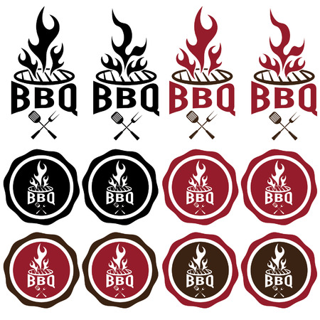 vintage labels of bbq
