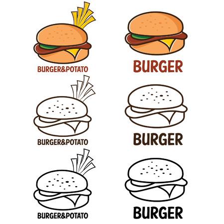 burger cartoon: burger and fries