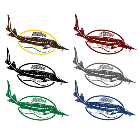aquaculture: sturgeon fish with caviar and lemon on plate