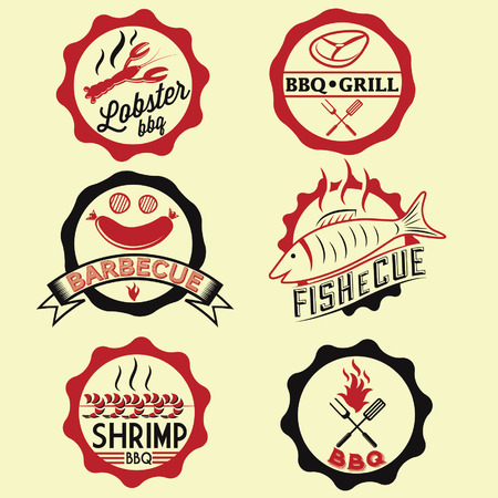 BBQ seafood steak labels, icons, badges template set Vector