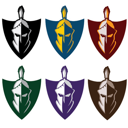 army helmet: crests with spartan warrior