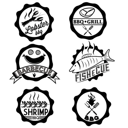 BBQ, seafood, steak labels, icons, badges template set Vector