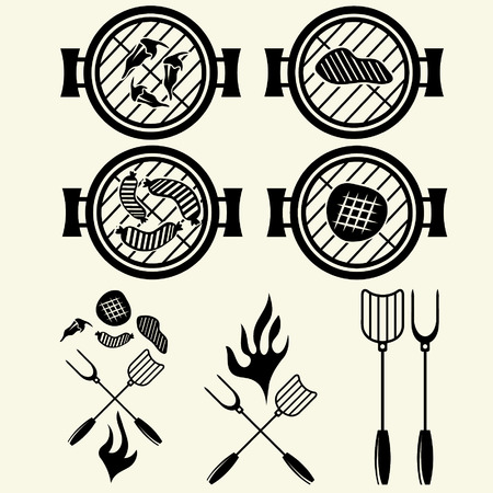 BBQ grill vector labels collection Vector