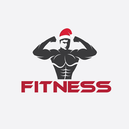 defined: man fitness silhouette character with merry christmas hat Illustration