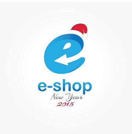 e new: e shop new year vector design template
