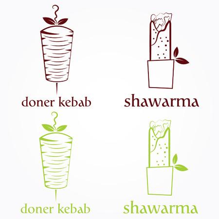 kabob: Vector illustration of doner kebab and shawarma