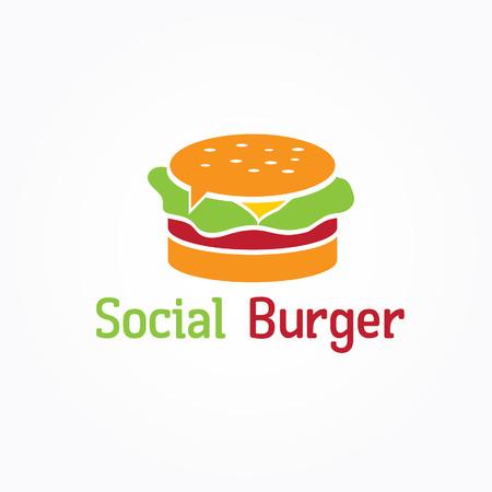 american cuisine: social burger vector design template