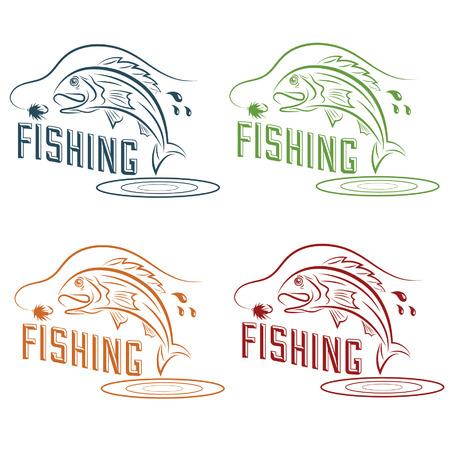 jumping fish: fishing vector design template