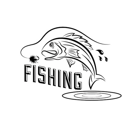 largemouth bass: fishing vector design template