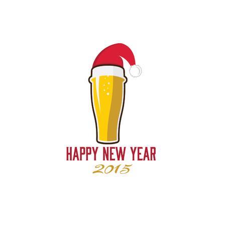 glass of beer in merry christmas hat Vector
