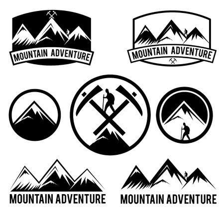 climbing sport: set of vintage labels mountain adventure Illustration