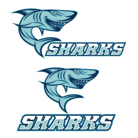 great white shark: cartoon aggressive shark for sport team Illustration