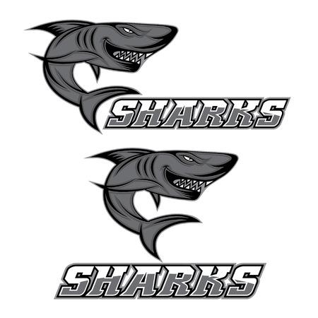 cartoon aggressive shark for sport team Illustration