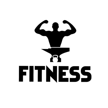 incus: man of fitness silhouette character ,kettlebell and anvil Illustration