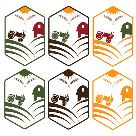 shed: farm with tractor emblems set Illustration