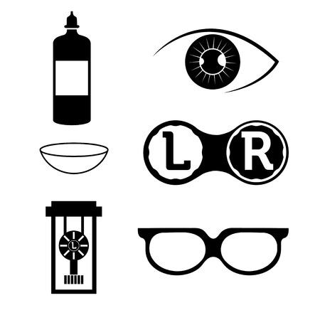 transparent cornea: eye contact lenses elements and glasses