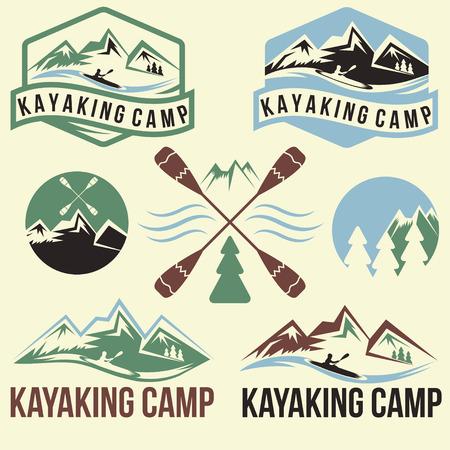 kayaking camp vintage labels set Vector