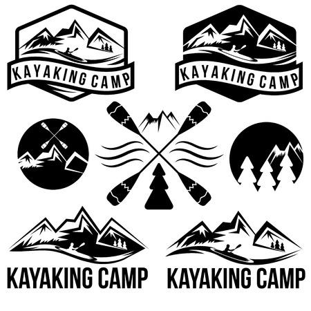 kayaking camp vintage labels set Illustration