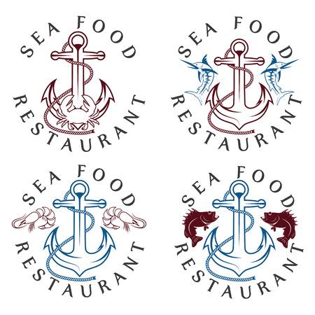 blue marlin: sea food vintage labels set
