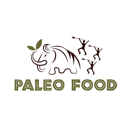cave: paleo food illustration with mammoth and cavemans