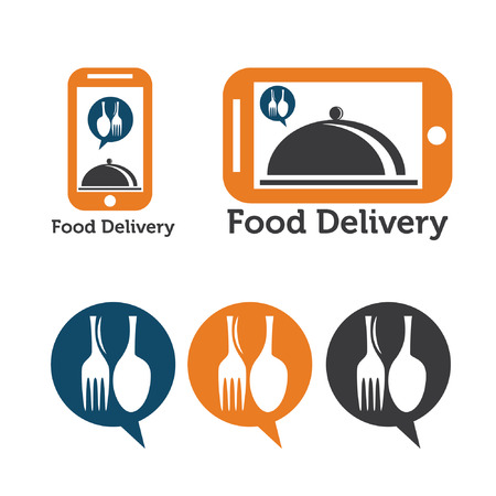 food ingredient: set of mobile food delivery icons