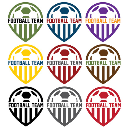 team sport: football team labels set Illustration
