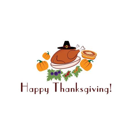 happy thanksgiving illustration with pie,turkey, pilgrim hat and pumpkins Vector