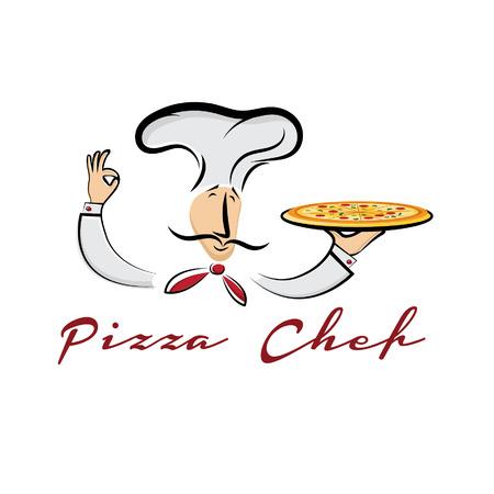 pizza chef cartoon illustration Vector