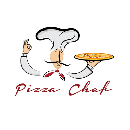 pizza man: pizza chef cartoon illustration