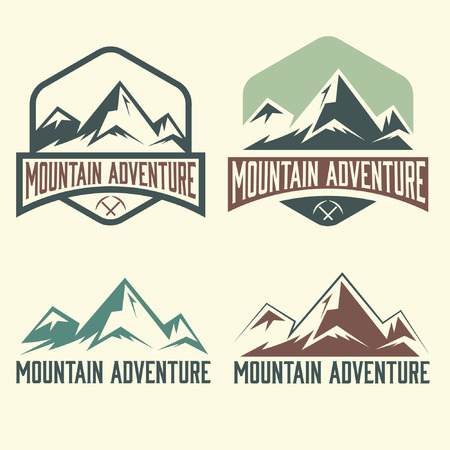 top of mountain: set of vintage labels mountain adventure Illustration