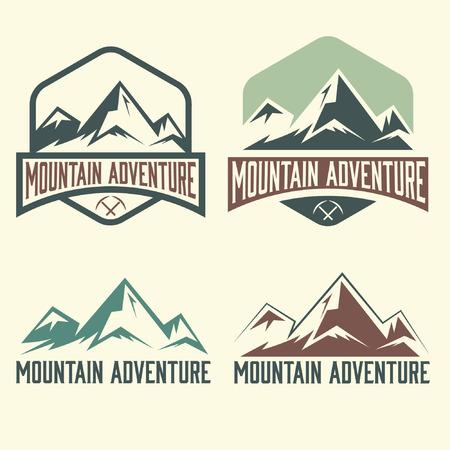 set of vintage labels mountain adventure Illustration