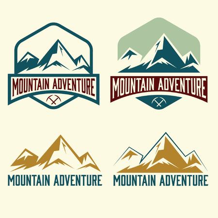 ice climbing: set of vintage labels mountain adventure Illustration