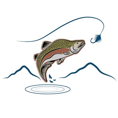 coho: jumping salmon on landscape background