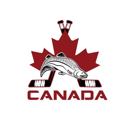 salmon leaping: symbols of Canada vector design template