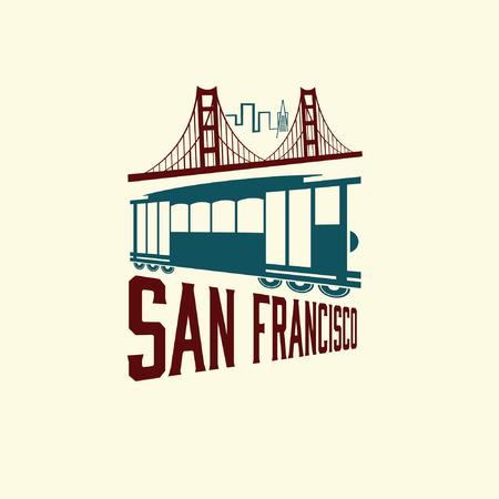 San Francisco Golden gate bridge and tram Vector