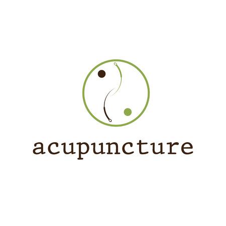 治癒: 鍼治療のベクトルのデザイン テンプレート