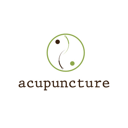 yin yang symbol: acupuncture vector design template Illustration