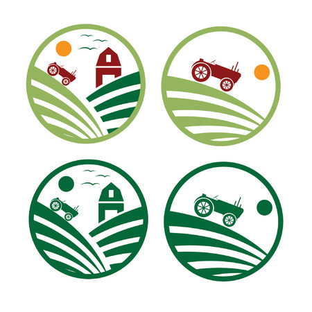 agrimotor: farm with tractor emblems set Illustration