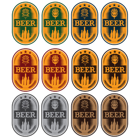 set of labels for beer in a retro style Vector