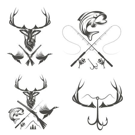 Set di etichette di caccia e di pesca d'epoca ed elementi di design Archivio Fotografico - 31845308
