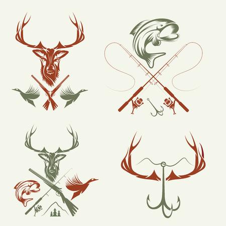 Set di etichette di caccia e di pesca d'epoca ed elementi di design Archivio Fotografico - 31845311
