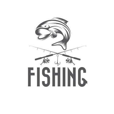 perch: vintage fishing vector design template
