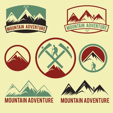 extreme sport: set of vintage labels mountain adventure Illustration