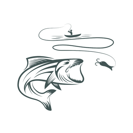 spawning: fisherman in boat and bass Illustration